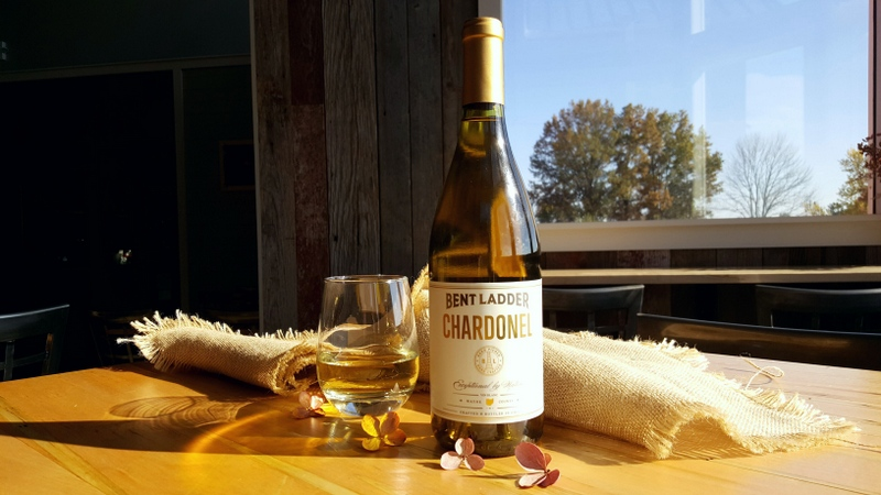 A bottle of Chardonel in the tasting room