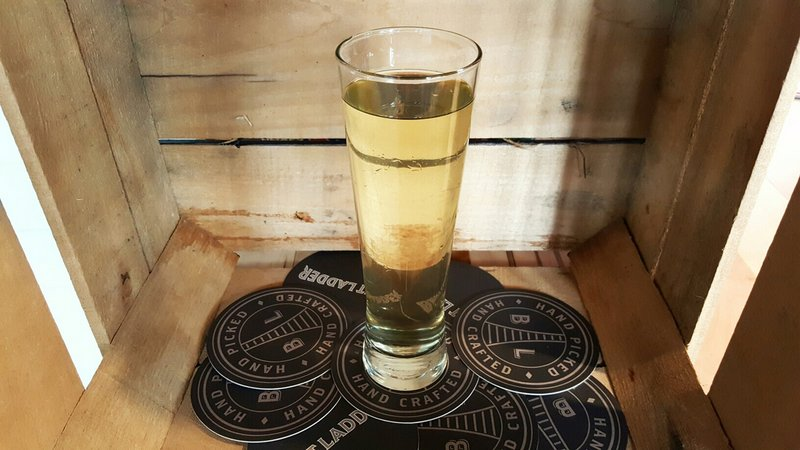 Hopped cider in a glass