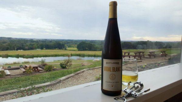 A bottle of Vidal Blanc in the window