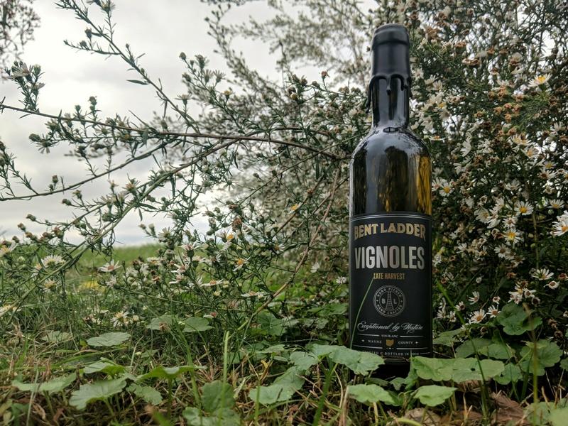 A bottle of Vignoles outside