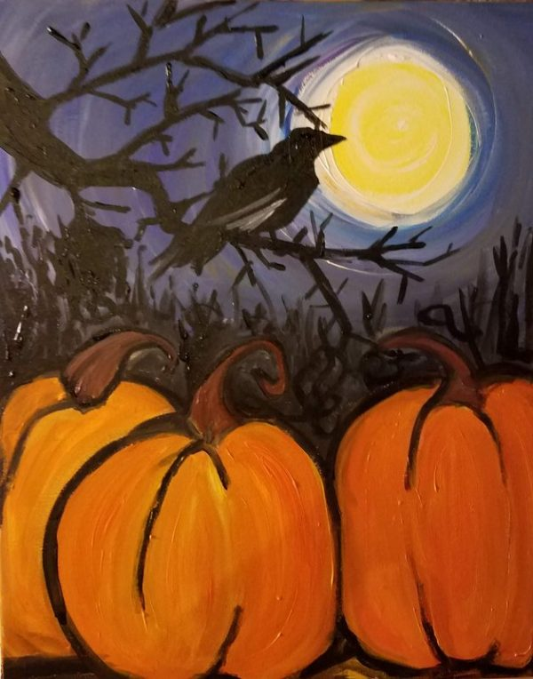 painting of crows and pumpkins under the full moon