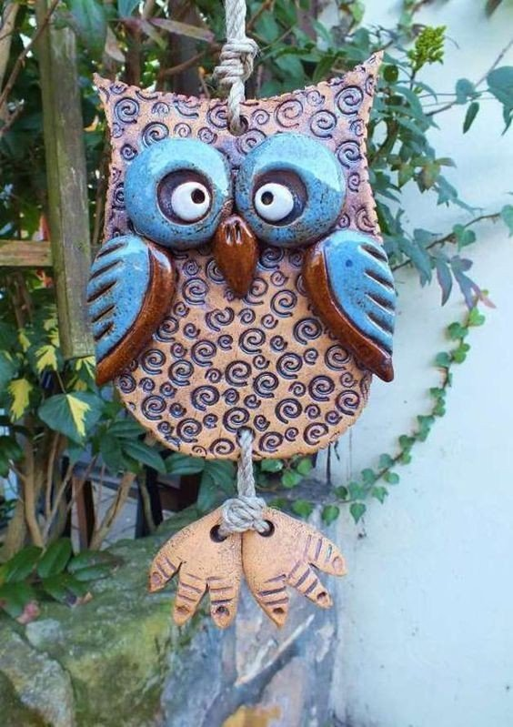 Pottery owl wall hanging example