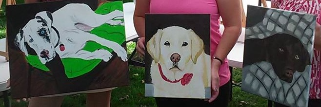Examples of pet potraits painted at this class