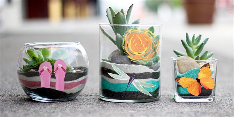succulent plants in their painted planters
