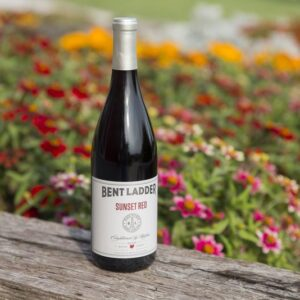 A bottle of Sunset Red wine